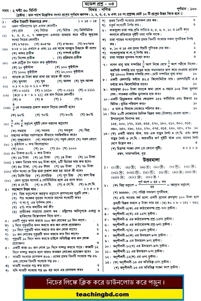 PECE Mathematics Suggestion and Question Patterns 2015-5