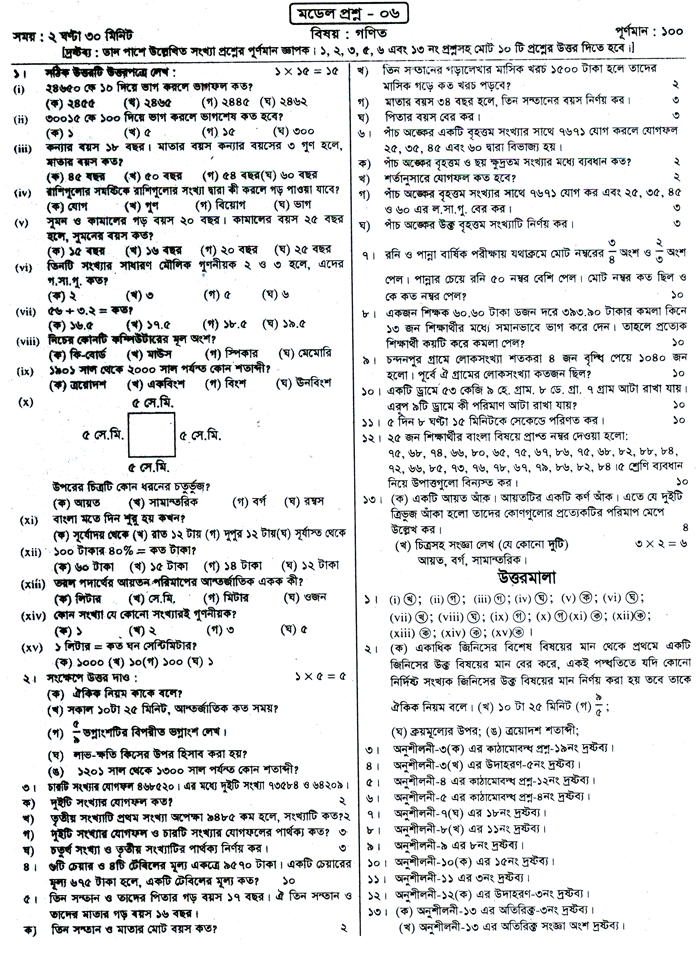 PECE Mathematics Suggestion and Question Patterns 2015-6