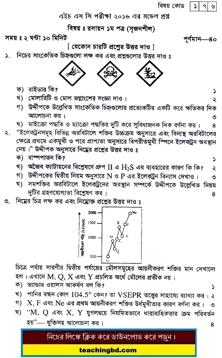 Chemistry Suggestion and Question Patterns of HSC Examination 2016-2