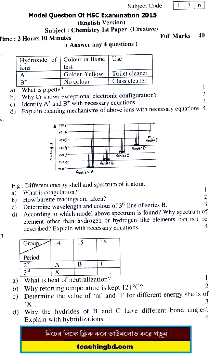 EV Chemistry Suggestion and Question Patterns of HSC Examination 2016-2