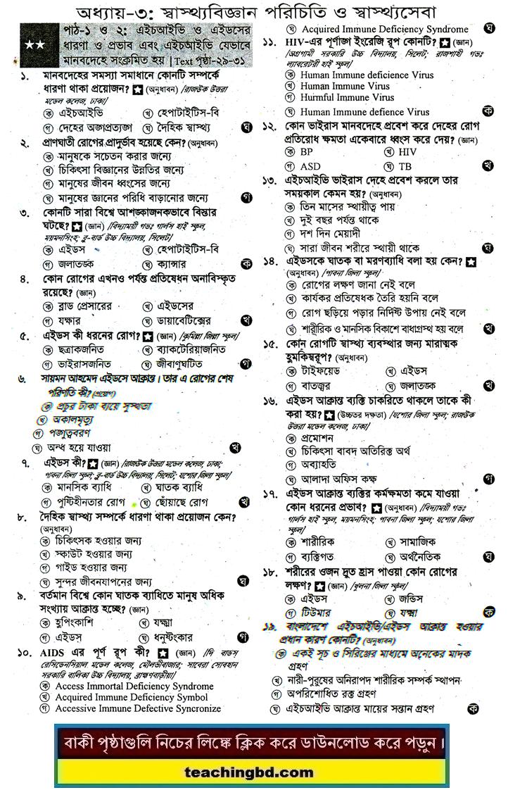 JSC Sharirik shikkha O Shasto MCQ Question With Answer Chapter 3